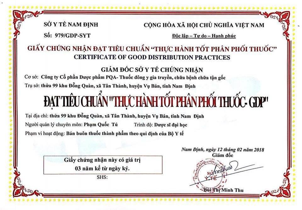 giấy chứng nhận phân phối thuốc pqa chỉ huyết